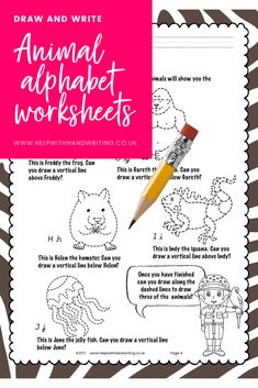 A to Z of animals asks a child to draw shapes above and below an animal image. Next they write letters of the alphabet & draw the outline of the animal. Alphabet Writing Worksheets, Teaching The Alphabet, Fun Worksheets, Alphabet Activities, Literacy Activities, Teaching Handwriting, Handwriting Activities, Neat Handwriting, Handwriting Practice