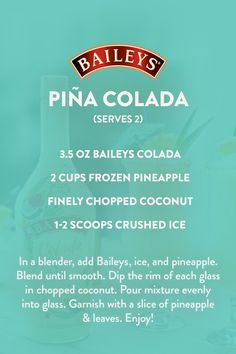 When you can't go to the beach, bring the beach to you with Baileys Colada.  Baileys Cocktails, Peach Whiskey, Cocktail Drinks, Summer Drinks, Fun Drinks, Alcoholic Drinks, Beach Drinks, Mixed Drinks Alcohol, Cocktails