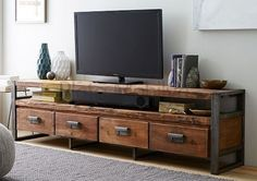 vintage TV wall unit wood furniture ideas for TV walls - Modern Furniture Industrial Tv Stand, Industrial Design Furniture, Wood Furniture, Vintage Furniture, Furniture Design, Industrial Entertainment Center, Rustic Industrial, Furniture Ideas, Luxury Furniture