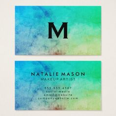 #trendy - #Trendy Watercolor with Monogram Business Card