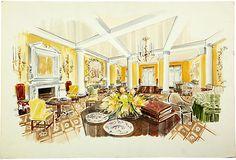 Colored presentation drawing by Parish-Hadley staff for The Ritz-Carlton, Boston. Watercolor on board.