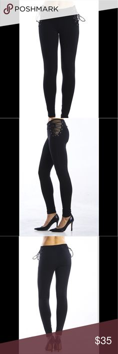 Ponte skinny pants with lace up sides Ladies ponte skinny legging pants with slight stretch fabrication. 68% rayon, 27% nylon and 5% spandex. Super cute and excellent quality. True to size. Pants Leggings