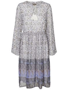 Beautiful printed 70's dress. Style it with a pair of brown boots.