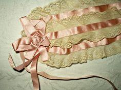 Vintage 1920 Flapper Bandeau Head Piece Lingerie Lace Ruffles Ribbon Bows - The Gatherings Antique Vintage