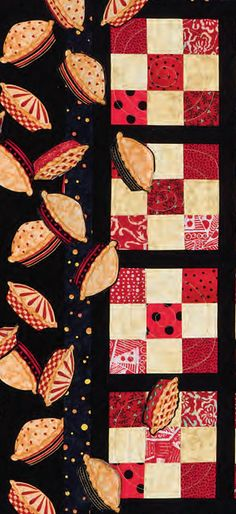 When Pies Fly detail - Border idea - applique designs from border onto main part of quilt - other ideas here on fussy cutting etc.