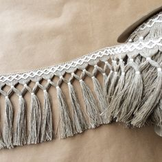 Diamond Double Knot Fringe 6.5-100% Linen, Fringe Market, Passementerie, Fringe, Tassel Fringe, #fringemarket, Linen, Linen Fringe, Textiles, Textile Mill