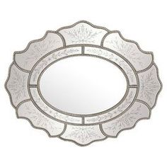 """Lend a touch of garden-chic style to your entryway or sunroom with this lovely wall mirror, showcasing a floral-inspired silhouette and beaded trim.  Product: Wall mirrorConstruction Material: Resin and mirrored glassColor: Silver frameFeatures:  Ready to hangCan be hung horizontally or verticallyDimensions: 34"""" H x 42"""" W x 1"""" D"""
