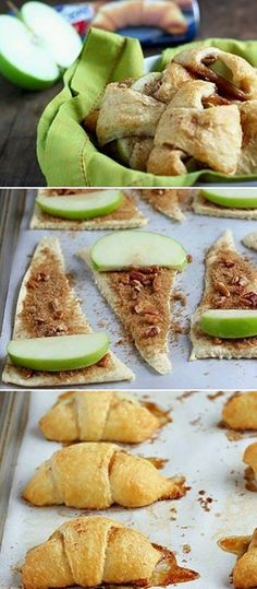 EASY Apple Pie Bites made with crescent rolls. these taste better than apple pie! I Love Food, Good Food, Yummy Food, Just Desserts, Dessert Recipes, Crescent Roll Recipes, Crescent Rolls, Apple Pie Bites, Brownie