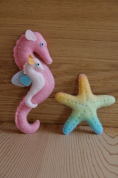 Felt Sea horse mum & baby with star fish. $50.00, via Etsy - look easy enough to make