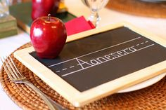 Back to school dinner or party!  Little chalkboard place settings!  Cute!