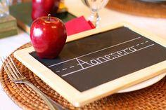 Back to school dinner or party!  Little chalkboard place settings!  Cute!
