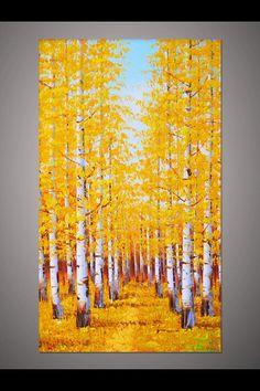 Acrylic Painting Canvas, Canvas Art, Painting Process, Art Plastique, Tree Art, Art Pictures, Landscape Paintings, Watercolor Art, Original Paintings