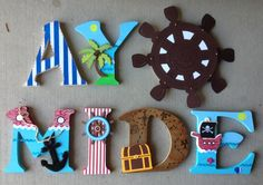 Custom Wooden Letters, hand-painted and designed by Kid Murals by Dana Railey. Letters are $10-$12per letter plus S&H. They are great as #babyshower gifts, #nurserydécor, #kidsrooms, #woodendécor, teacher gifts, #hangingletters, and more!  Any theme, specific characters, pattern and color can be created!  Please contact Dana on FB at http://www.facebook.com/kidmuralsbydanarailey or www.scottsdalemurals.com  #babynursery, #babyboy, #pirates, #pirate, #boys, #nurserydécor, #pirateroom…
