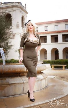 Green with Leopard Stephanie Dress from Pinup Couture