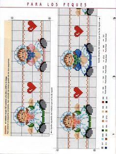 Solo Patrones Punto Cruz (pág. 190)   Aprender manualidades es facilisimo.com Cross Stitch Boarders, Cross Stitch Bookmarks, Cross Stitch Baby, Cross Stitch Embroidery, Cross Stitch Patterns, Crochet For Kids, Knit Crochet, Happy Baby, Needlepoint