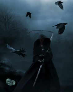Grim Reaper with crows.