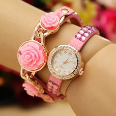 Colorful Powder Wrap #Watch, with #Rhinestone & 2-strand, more colors.
