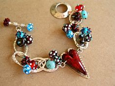 heart charm and glass beads