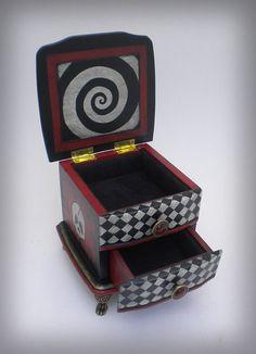 OOAK Goth Style Musical Keepsake Box - Creepy Creations by Jamie Moore