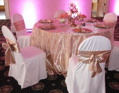 Buy Chair Covers And Sashes Sit Me Up 2082 Best Images Decorated Chairs Golden Champagne Satin Tablecloths With Embroidered Sequins Overlay Ivory