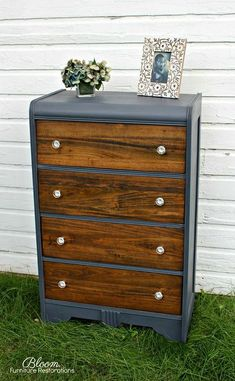 """Vintage Furniture Vintage Waterfall Dresser in custom """"Blue Jean"""" chalk with walnut stained drawer fronts, wax finish from top to bottom and brand new glass hardware Furniture Fix, Do It Yourself Furniture, Furniture Projects, Furniture Makeover, Furniture Design, Automotive Furniture, Automotive Decor, Reclaimed Furniture, Refurbished Furniture"""