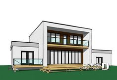 Discover the Nevio Modern Home that has 5 bedrooms, 2 full baths and 1 half bath from House Plans and More. See amenities for Plan Pole Barn House Plans, Garage Plans, House Floor Plans, Minimalist House Design, Minimalist Home, Plan Chalet, Folding Patio Doors, Garage Double, Zen