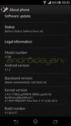 Xperia TX LT29i Jelly Bean 9.1.B.0.411 firmware update - ROOT Working