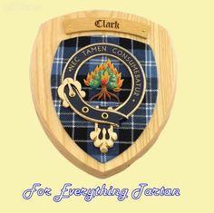Clan Clark Tartan Woodcarver Wooden Wall Plaque Clark Crest 7 x 8