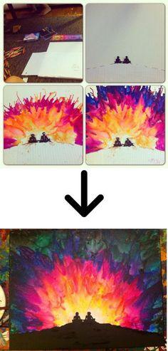 Stunning Sunburst Melted Crayon Art.