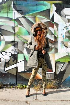 Jen is wearing Pajar Down Jacket and Rich and Skinny Camo Jeans Pajar is a Montreal, Canadian family run Apparel Brand. Camo Skinny Jeans, Camo Jeans, Camo Fashion, Women's Fashion, Fashion Design, Down Coat, Style Me, Jackets For Women, Fall Winter