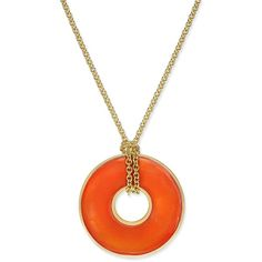 Erwin Pearl Atelier for Charter Club Gold-Tone Circle Pendant... (£69) ❤ liked on Polyvore featuring jewelry, necklaces, orange, pearl jewelry, gold tone necklace, gold tone chain link necklace, circle pendant necklace and orange jewelry