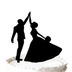 Wedding Cake Topper Bride and Groom Dancing Silhouette Cake Topper