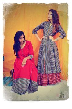 Chic casuals from Cotton Seeds. Salwar Kurta, Anarkali, Desi Wear, Office Wear, Indian Dresses, Frocks, Dress Patterns, Indian Fashion, Shirt Dress