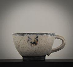 Uniek handgedraaid keramiek Espresso tasje / koffietasje / cup / steengoed / decal lovely cat / gesigneerd / Cat lover gift Cat Lover Gifts, Gift For Lover, Cat Lovers, Espresso, Decal, Mugs, Tableware, Etsy, Vintage