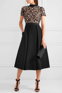 Black, white and pastel-pink guipure lace, black crepe Hook and zip fastening at back 95% polyester, 5% cotton; lining: 97% polyester, 3% spandex Hand wash Imported