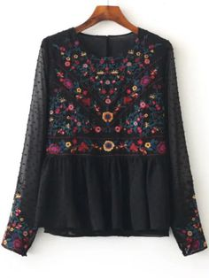 Blusa de malla con bordado floral - negro