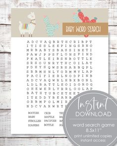 21 Printable Baby Shower Games - Super Game Pack - Woodland Watercolor Animals Theme - Print It Baby Baby Shower Candy, Baby Shower Bingo, Baby Shower Party Supplies, Boho Baby Shower, Baby Shower Activities, Baby Shower Parties, Shower Favors, Shower Invitations, Free Baby Shower Printables