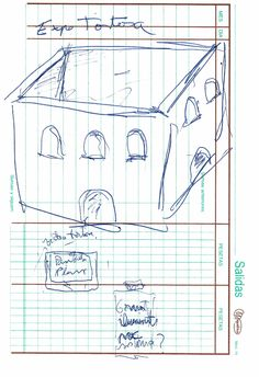 """Apunte: Sala d'exposicions 004   Apunte  """"Sala d'exposicions 004""""  Sala de exposiciones 004  Bolígrafo sobre papel  153 x 105 cm  2004  Bilbao  apunte: exposición libro 2004-01 / 2004-06"""