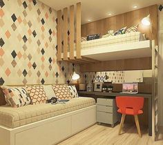Bunk Bed with Desk: 60 Creative Ideas to Save Space - Deco Art House Dream Rooms, Dream Bedroom, Bunk Bed With Desk, Room Interior, Interior Design, Modern Bunk Beds, Awesome Bedrooms, New Room, Bedroom Decor