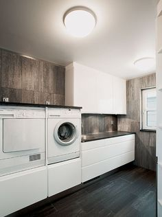 Laundry room – L O V E the washer and dryer in stock ! I hate falling to the floor to get clothes in and out. Laundry Nook, Laundry Closet, Small Laundry Rooms, Laundry Room Design, Laundry In Bathroom, Smelly Laundry, Interior Design Living Room, Living Room Designs, Küchen Design