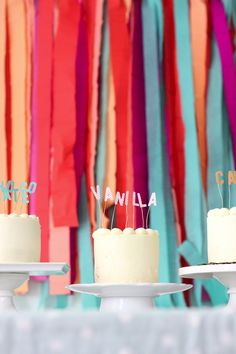 Cute way to spell out cake flavors