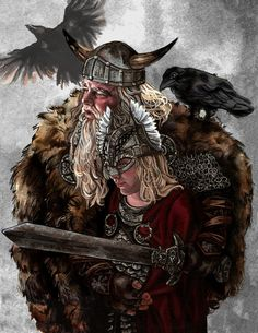 A mythical imagining of a young Thor and his omnipotent daddy Odin. The pair are accompanied by Odin's trusty ravens Huginn (Old Norse 'Thought') and Muninn (Old Norse 'Memory' or 'Mind')