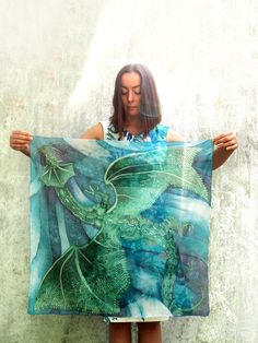 #Square #silk #scarf with #dragon painted in #blue and #green shades by Luiza #Malinowska #minkulul