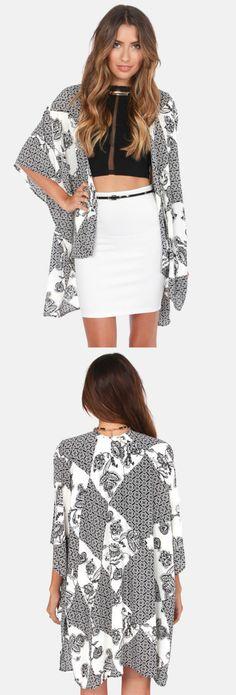 Boho Black and Ivory Print Kimono Jacket via lulus.com
