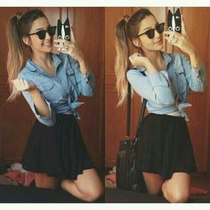 Camisa jeans + saia pretinha ♥