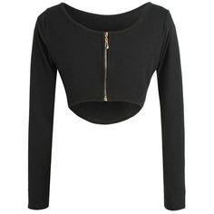 Long Sleeve Fitted Zipper Design Crop Top (€87) ❤ liked on Polyvore featuring tops