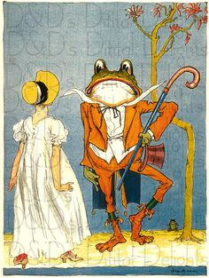 Gorgeous Gal and Mr. Frog From Oz. Frosch Illustration, Children's Book Illustration, Frog Pictures, Funny Frogs, Frog Art, Frog And Toad, Le Book, Wizard Of Oz, Cute Art