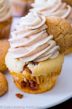 Snickerdoodle Cupcakes! Cinnamon-sugar swirled vanilla cupcakes topped with creamy cinnamon and vanilla frosting.