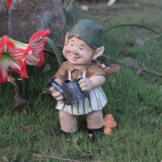31cm tall handmade creative hard working country style poly resin decorative garden gnome figurines with watering pot