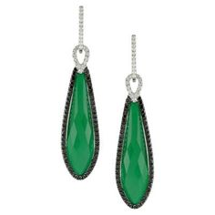 Green Agate and Diamond Earrings Available at Houston Jewelry!  www.houstonjewelry.com